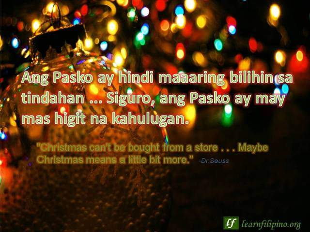 Christmas pasko for filipinos learn the culture and tagalog language christmas quote christmas cant be bought from a store m4hsunfo