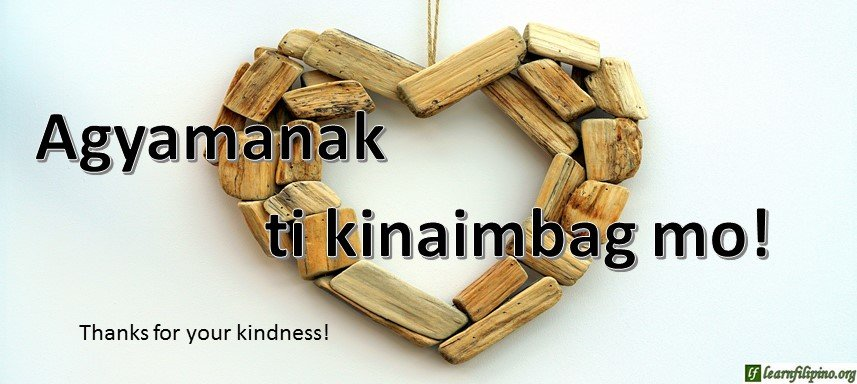 Ilocano Translation - Thanks for your kindness! - Agyamanak ti kinaimbag mo!