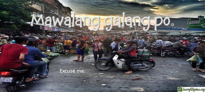 Tagalog Translation - Excuse me. - Mawalang galang po.