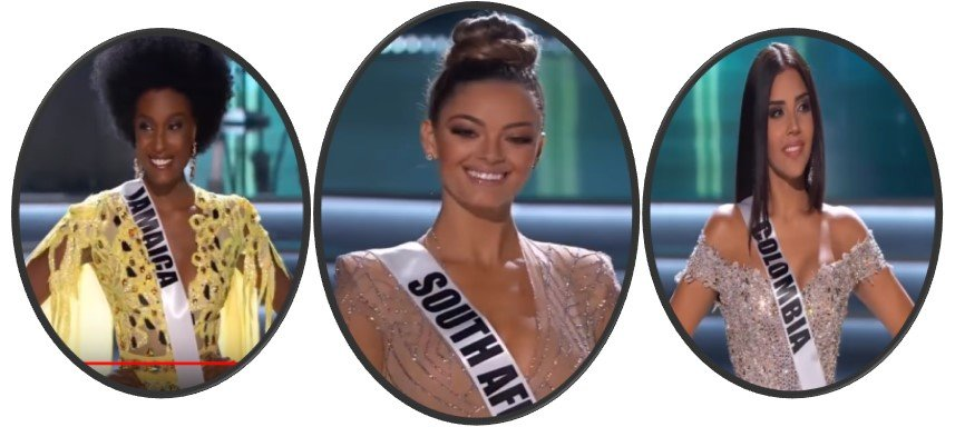 Jamaica, South Africa and Colombia - top 3 Ms. Universe 2017