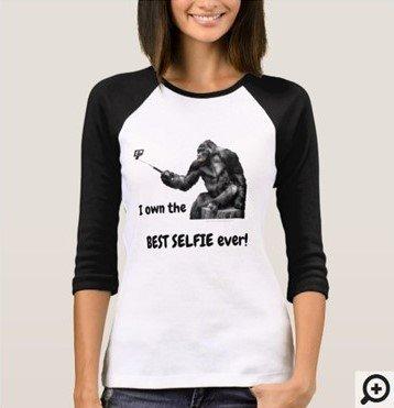 Original Black and White Selfie Monkey T-Shirt