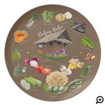 "Bahay Kubo ""learn Filipino vegetables"" Dinner Plate"