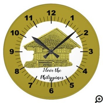 """I love the Philippines """"vintage yellow"""" Large Clock"""