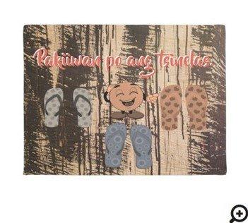 """Pakiiwan po ang tsinelas """"brown & vintage wood"""" doormat"""