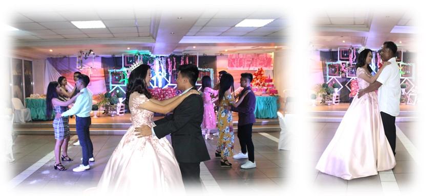 Debutante dances with escorts