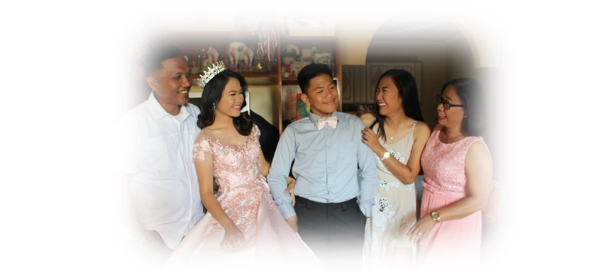 Debutante and family in the Philippines